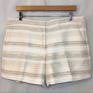 WHBM Striped Cream Ivory Metallic Jacquard Shorts